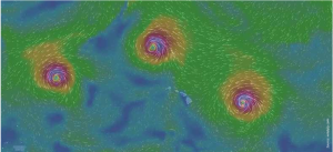 Top: Hawai'i dodged another bullet as hurricanes Kilo, Ignacio and Jimena (left to right) marched past the state in August 2015. July 2015 was the hottest month in recorded history. Right: According to Dr. Karl Kim, executive director of the National Disaster Preparedness Training Center at the University of Hawai'i, by 2100 32.68 miles of highways and 11.076 square miles of urban area will be adversely affected by sea level rise.